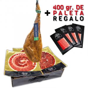 Jamón Gran Reserva cebo selección Monte Príncipe a cuchillo + 400gr. paleta regalo