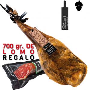 Paleta bellota 100% ibérica + Lomo regalo 700 gr.